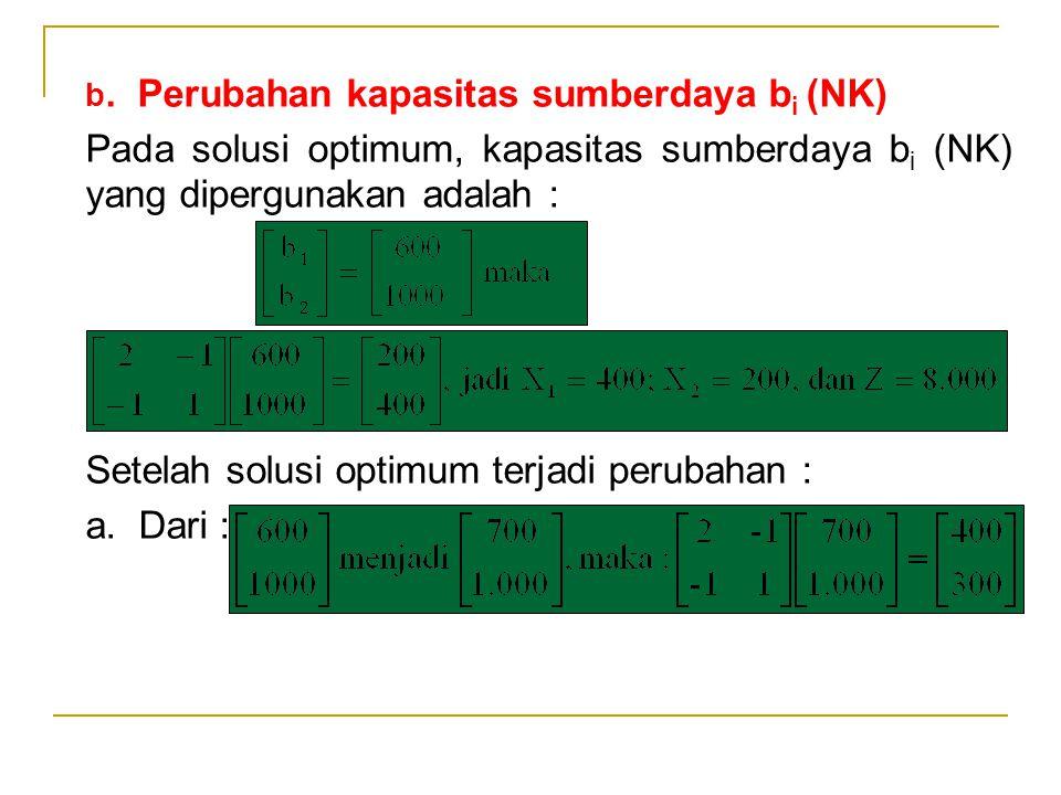 b. Perubahan kapasitas sumberdaya bi (NK)