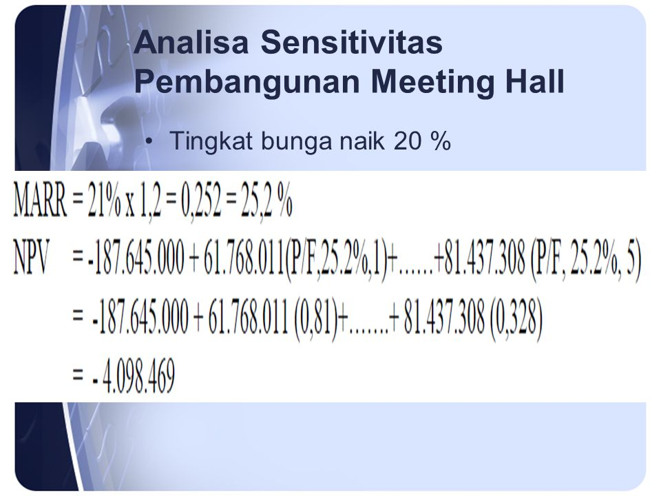Analisa Sensitivitas Pembangunan Meeting Hall