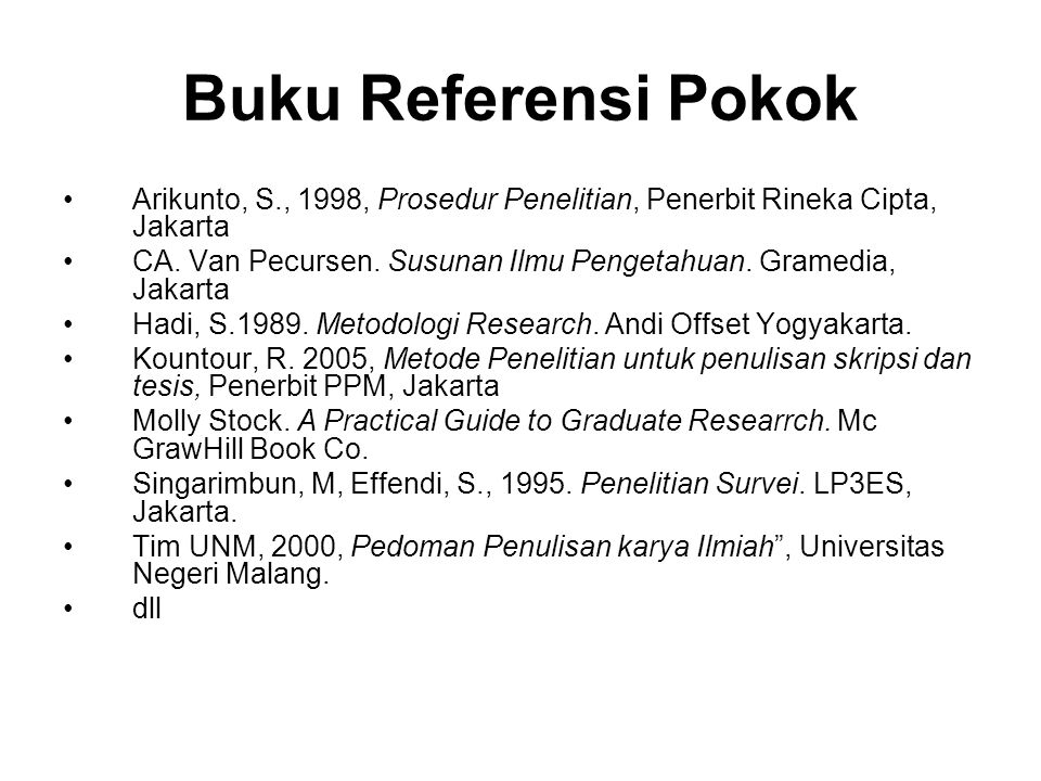 Buku Referensi Pokok Arikunto, S., 1998, Prosedur Penelitian, Penerbit Rineka Cipta, Jakarta.