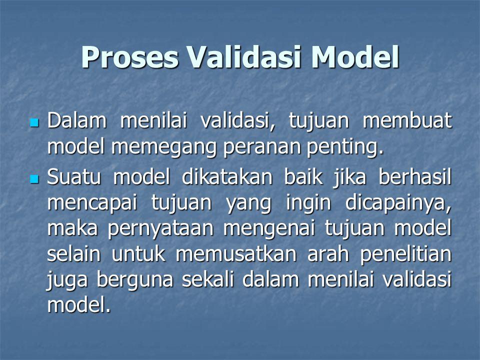Proses Validasi Model Dalam menilai validasi, tujuan membuat model memegang peranan penting.