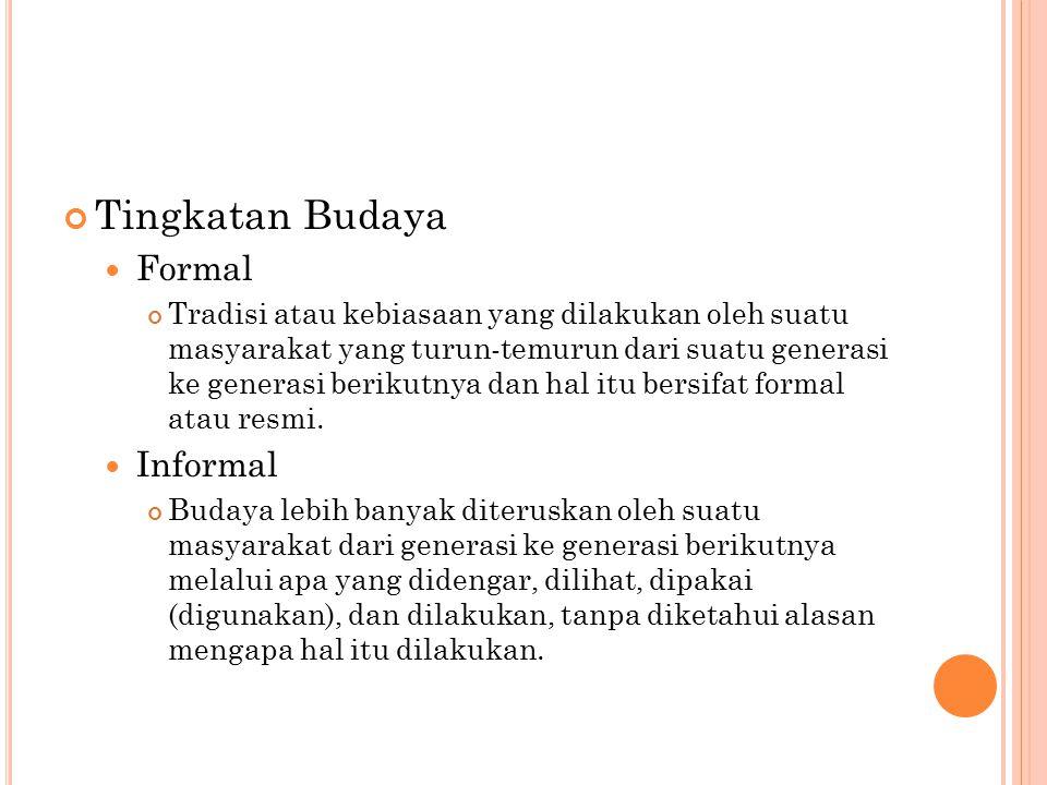 Tingkatan Budaya Formal Informal