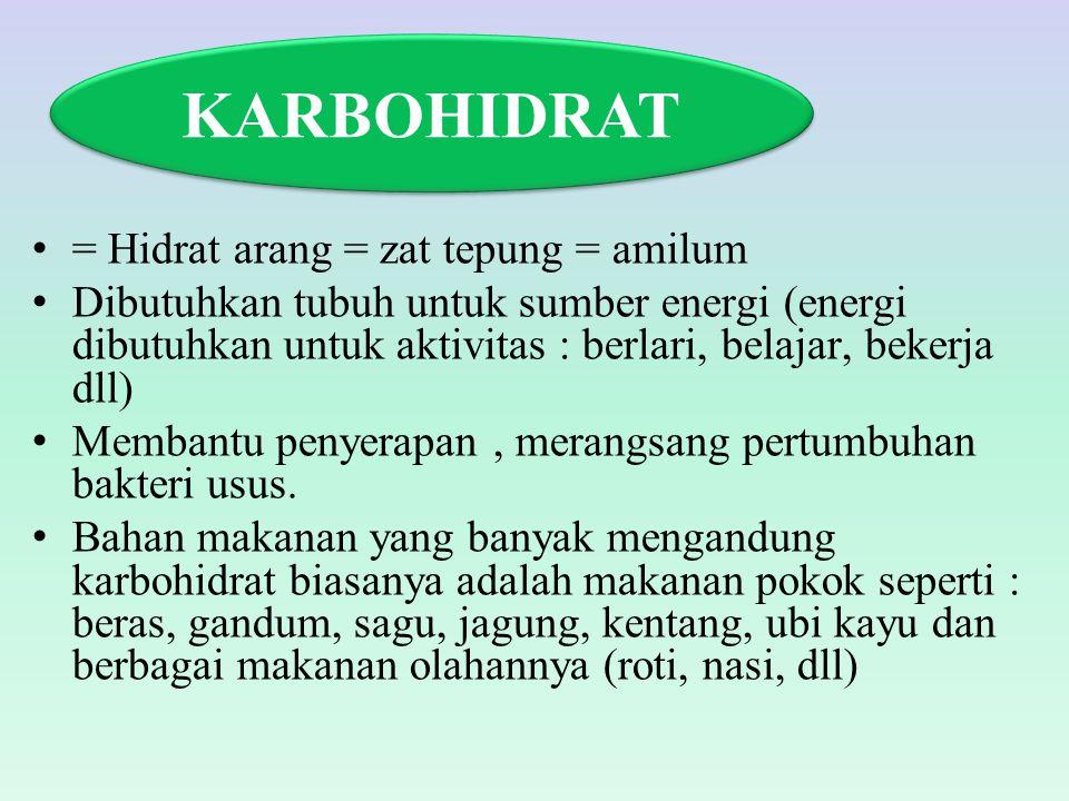 KARBOHIDRAT = Hidrat arang = zat tepung = amilum
