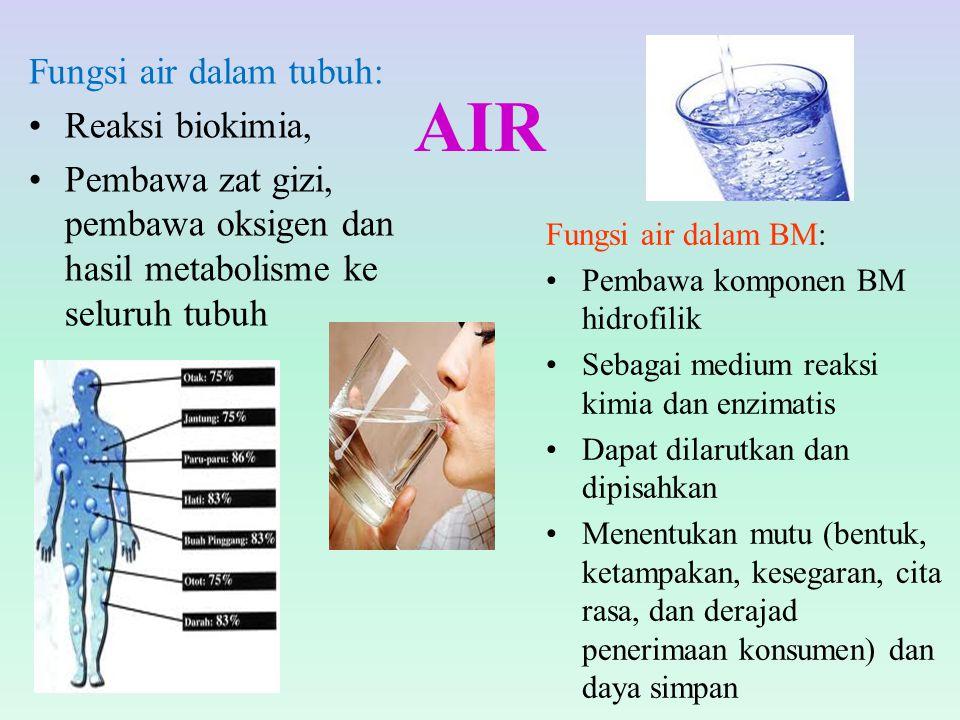 AIR Fungsi air dalam tubuh: Reaksi biokimia,
