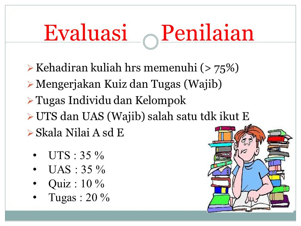 Evaluasi Penilaian UTS : 35 % UAS : 35 % Quiz : 10 % Tugas : 20 %