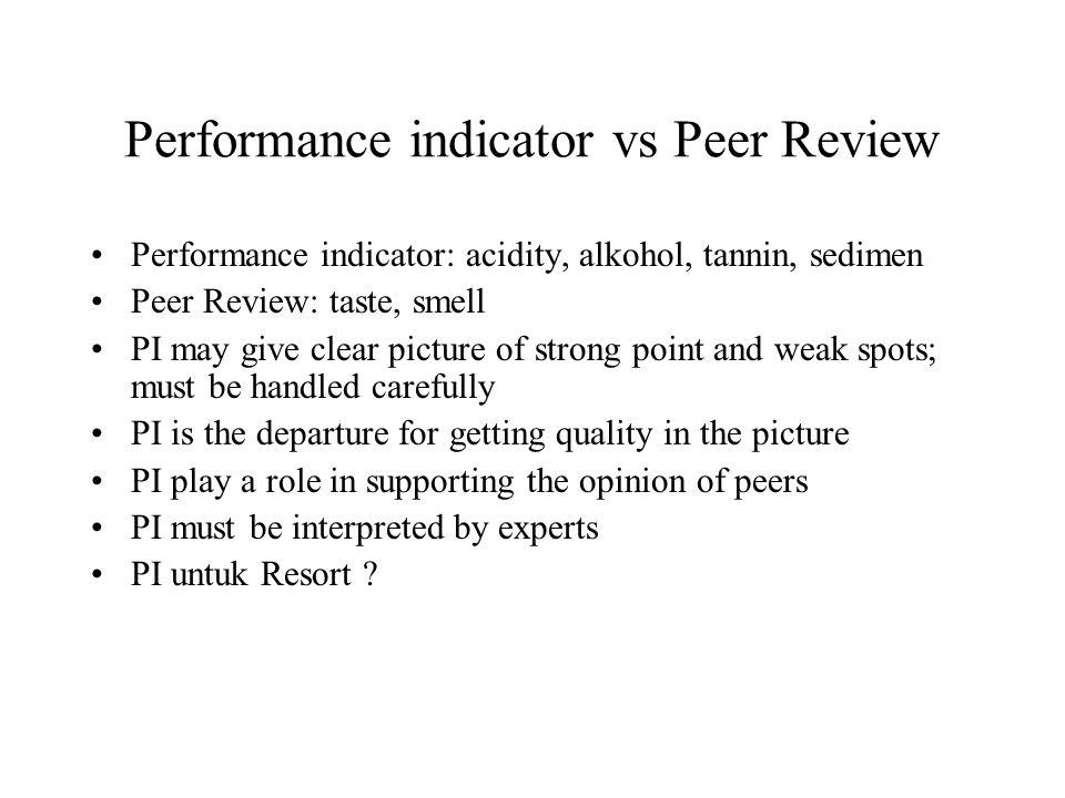 Performance indicator vs Peer Review