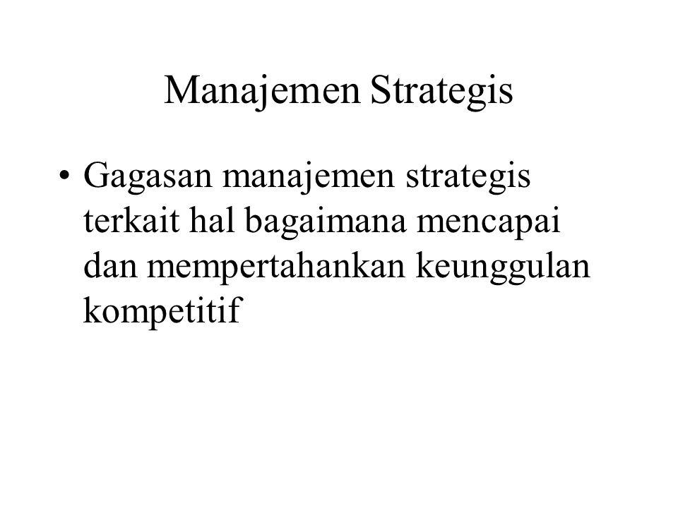Manajemen Strategis Gagasan manajemen strategis terkait hal bagaimana mencapai dan mempertahankan keunggulan kompetitif.