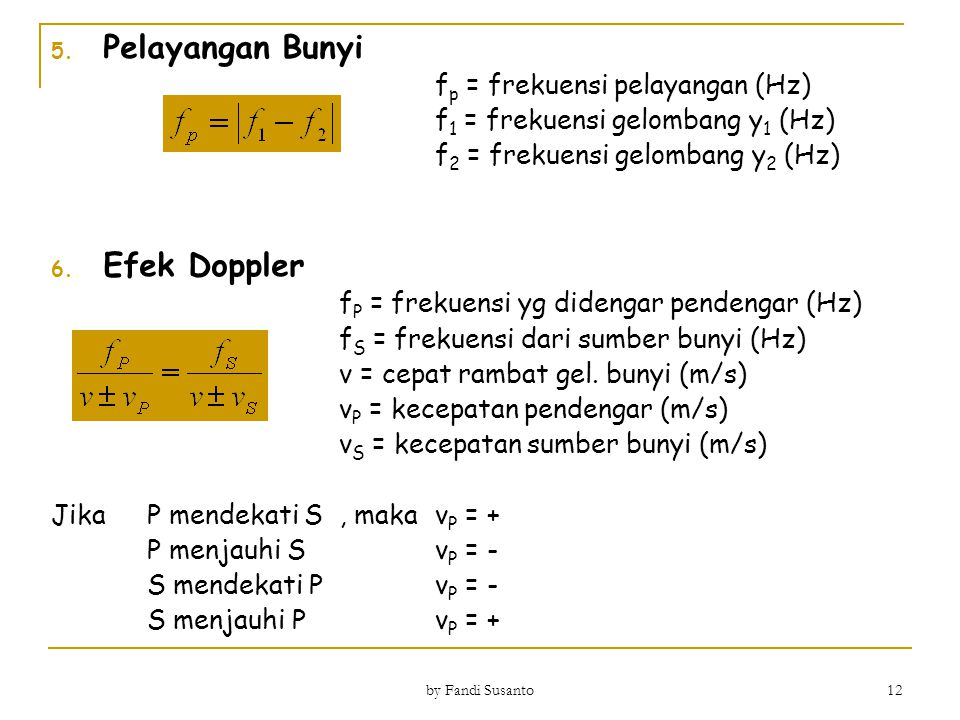 Pelayangan Bunyi Efek Doppler fp = frekuensi pelayangan (Hz)