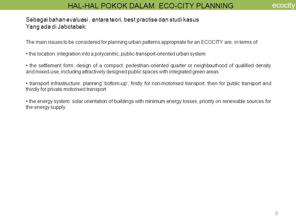 HAL-HAL POKOK DALAM ECO-CITY PLANNING
