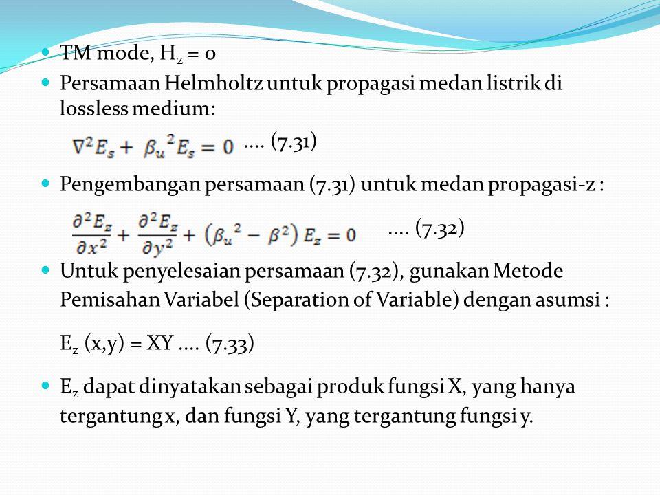 TM mode, Hz = 0 Persamaan Helmholtz untuk propagasi medan listrik di lossless medium: .... (7.31)