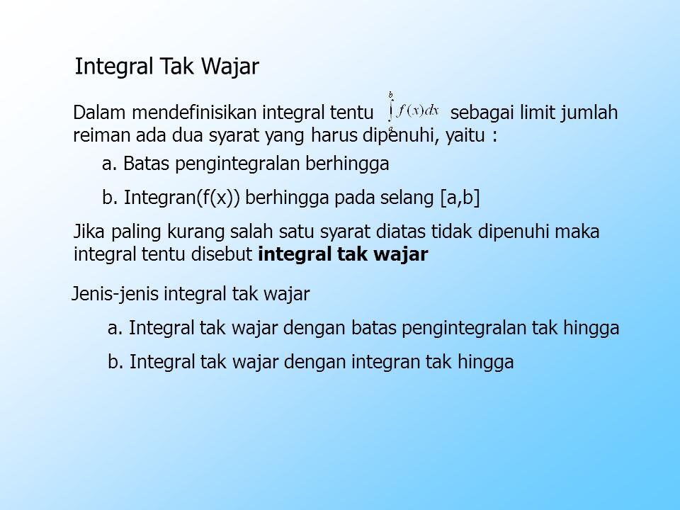 Integral Tak Wajar Dalam mendefinisikan integral tentu sebagai limit jumlah. reiman ada dua syarat yang harus dipenuhi, yaitu :