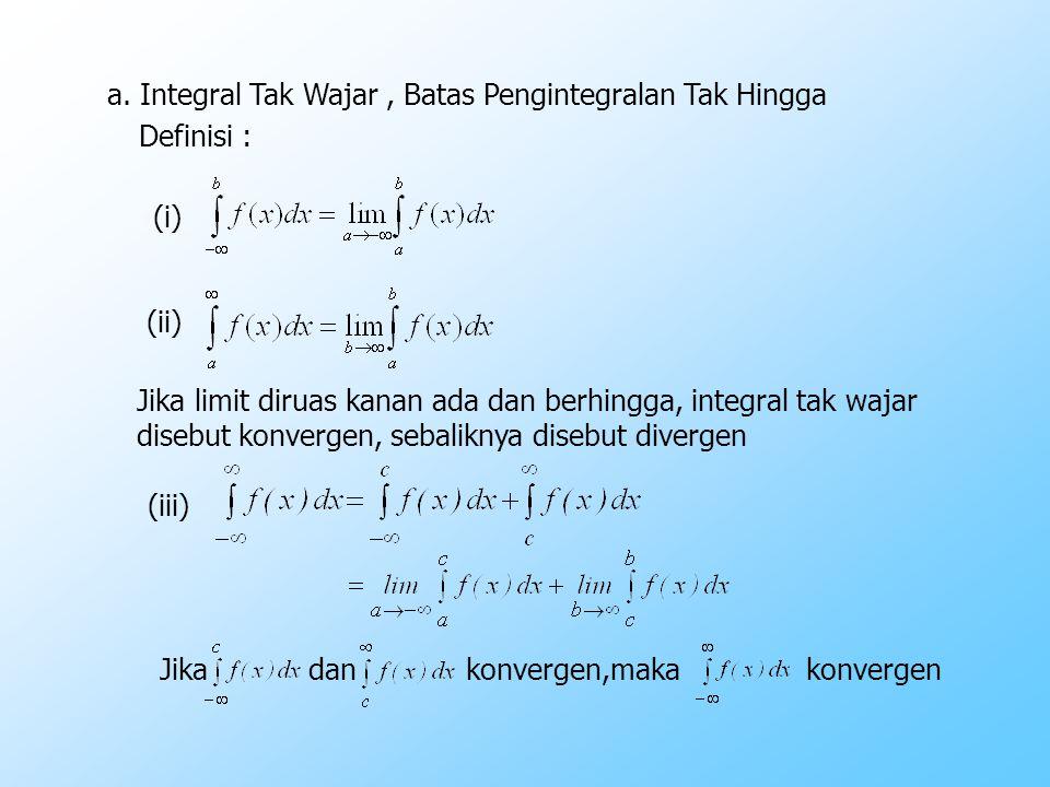 a. Integral Tak Wajar , Batas Pengintegralan Tak Hingga