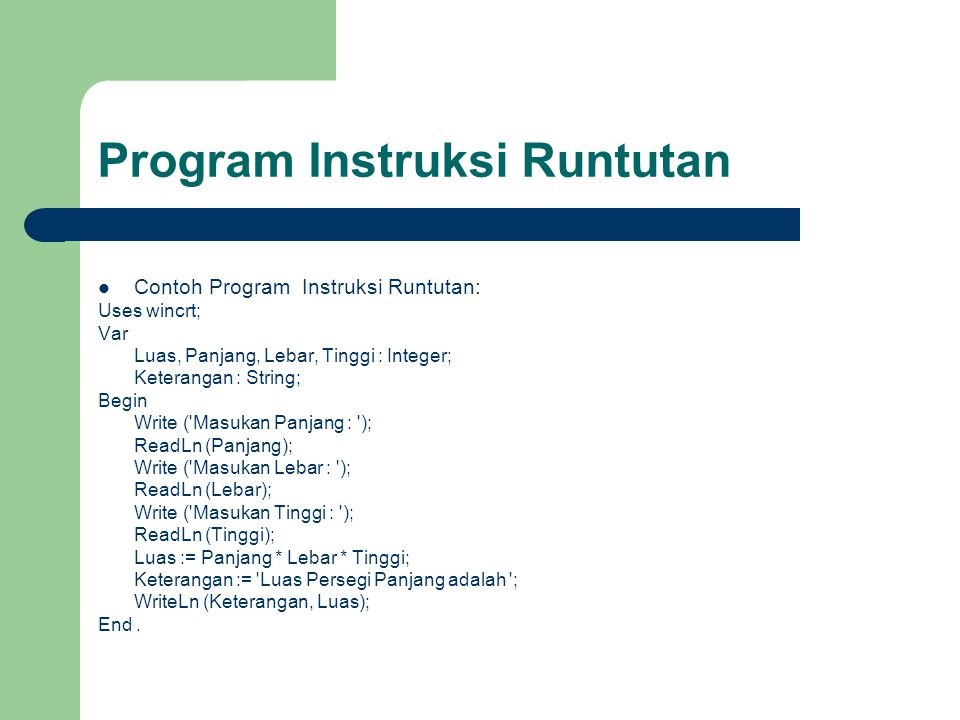 Program Instruksi Runtutan
