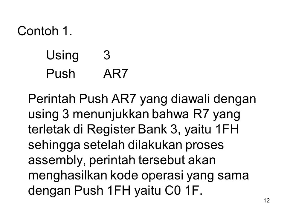 Contoh 1. Using 3. Push AR7.