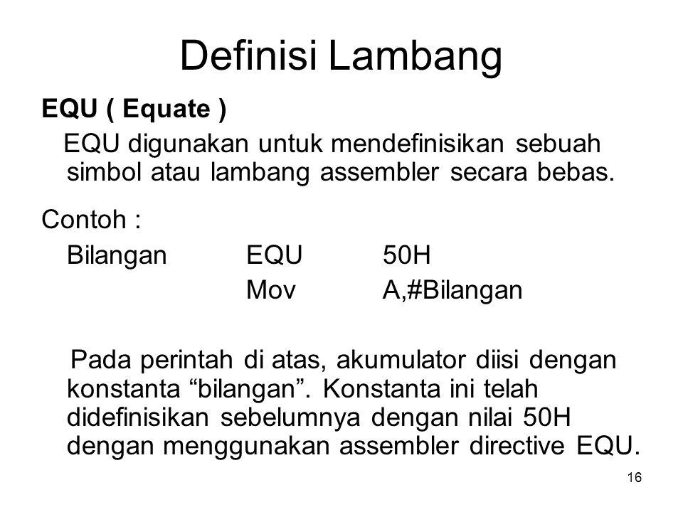 Definisi Lambang EQU ( Equate )