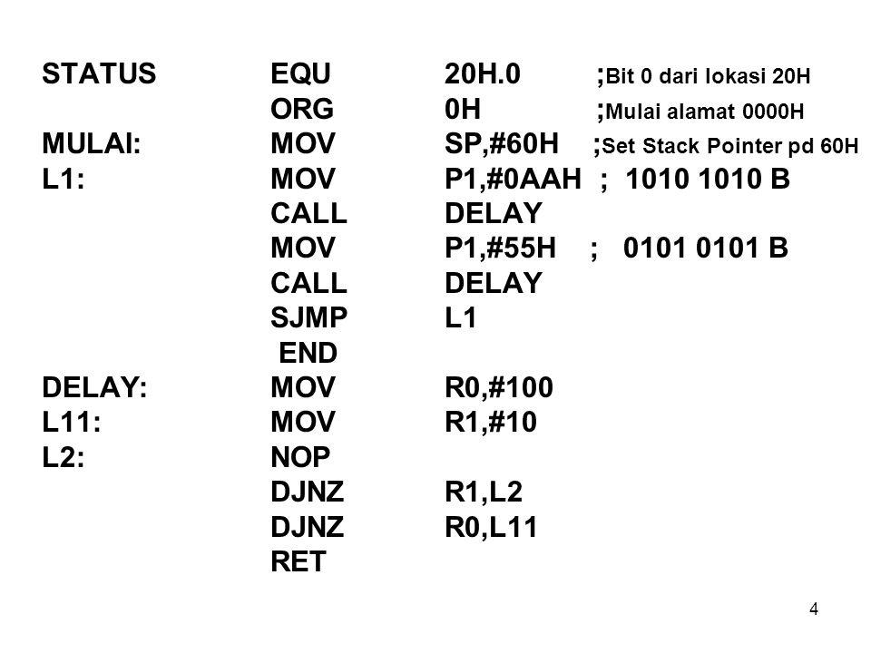STATUS EQU 20H.0 ;Bit 0 dari lokasi 20H