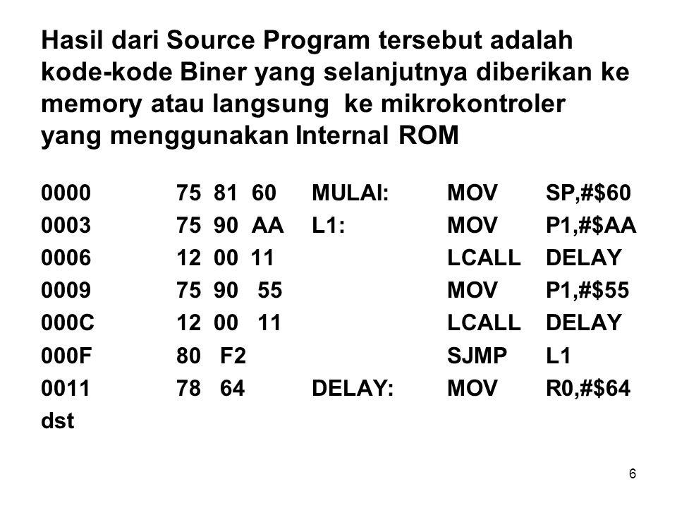 Hasil dari Source Program tersebut adalah kode-kode Biner yang selanjutnya diberikan ke memory atau langsung ke mikrokontroler yang menggunakan Internal ROM