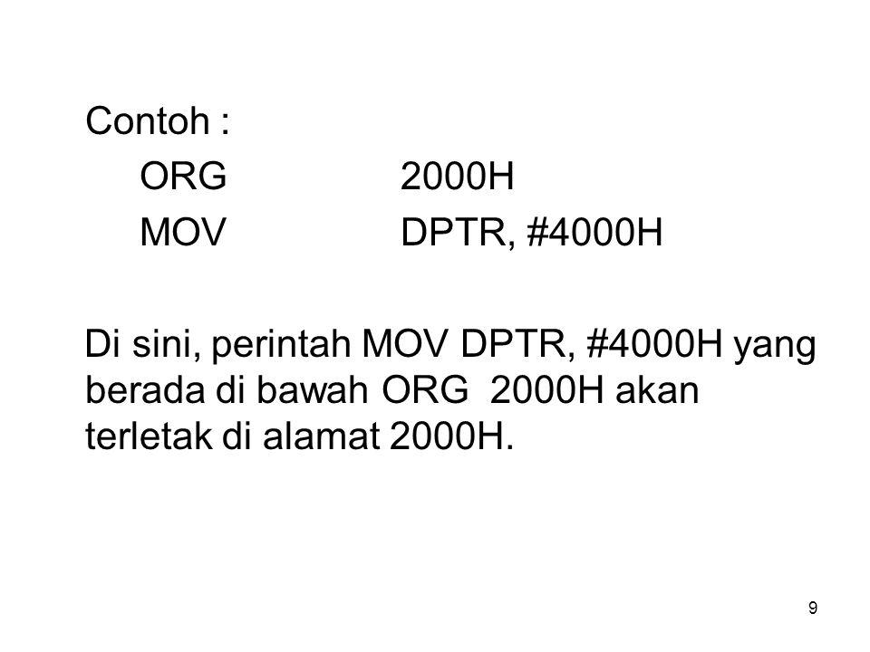 Contoh : ORG 2000H. MOV DPTR, #4000H.
