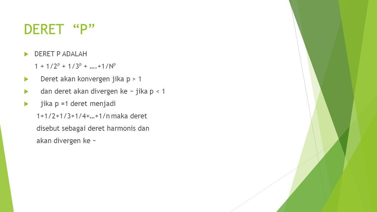 DERET P DERET P ADALAH 1 + 1/2P + 1/3P + ….+1/NP