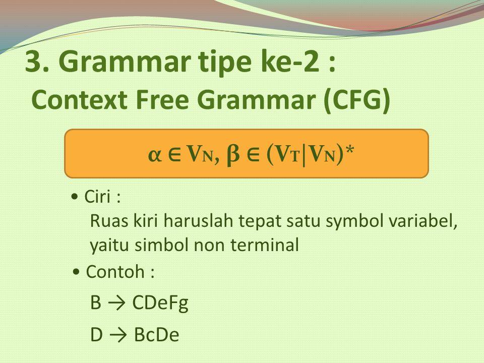 3. Grammar tipe ke-2 : Context Free Grammar (CFG)