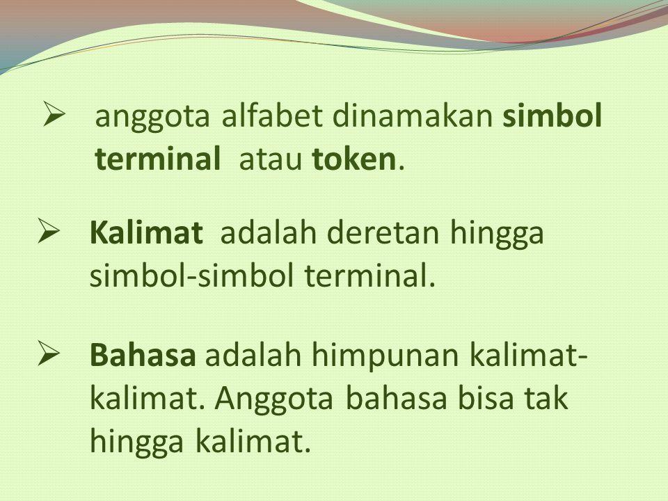 anggota alfabet dinamakan simbol terminal atau token.