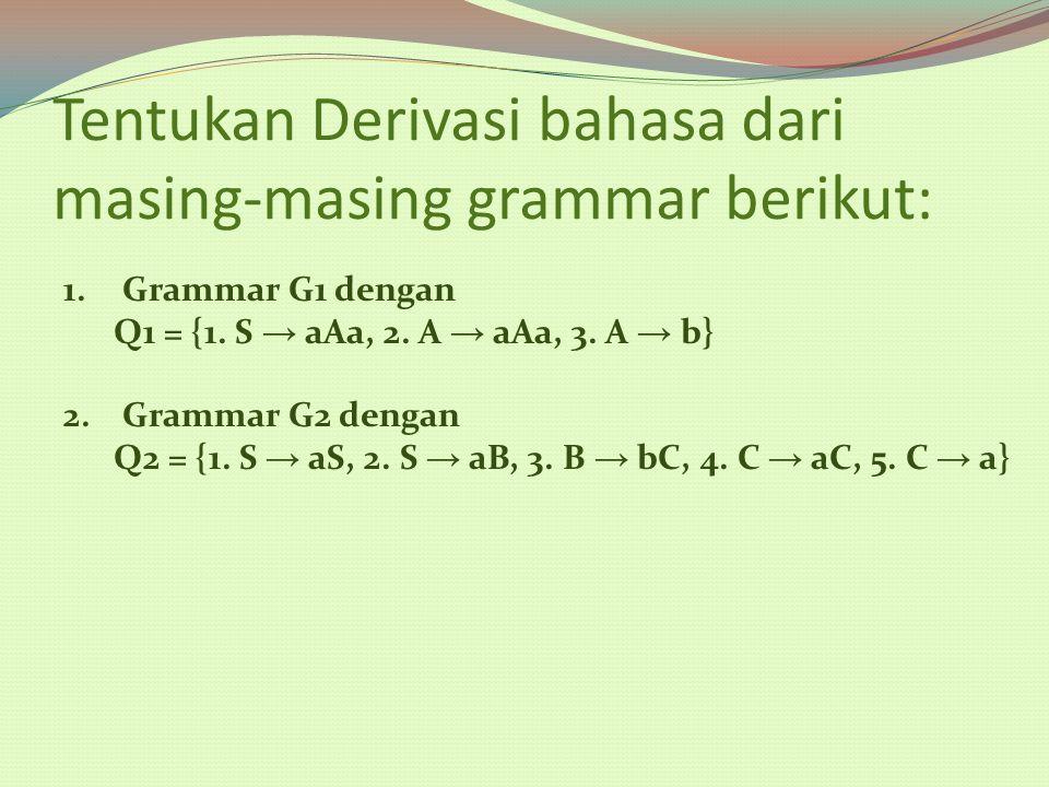 Tentukan Derivasi bahasa dari masing-masing grammar berikut: