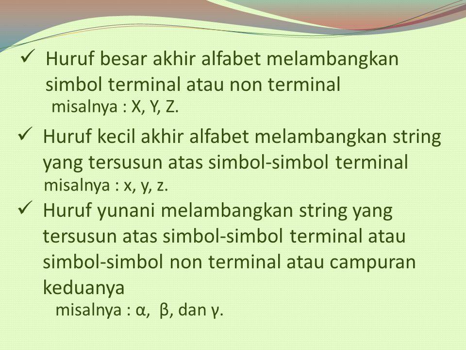 Huruf besar akhir alfabet melambangkan simbol terminal atau non terminal