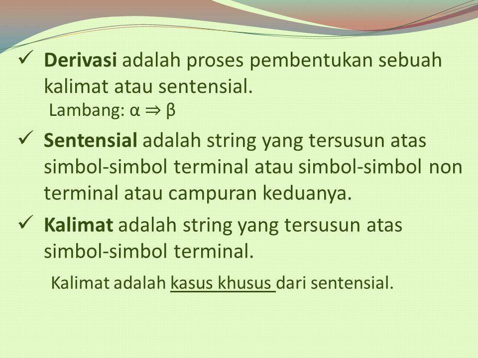 Derivasi adalah proses pembentukan sebuah kalimat atau sentensial.