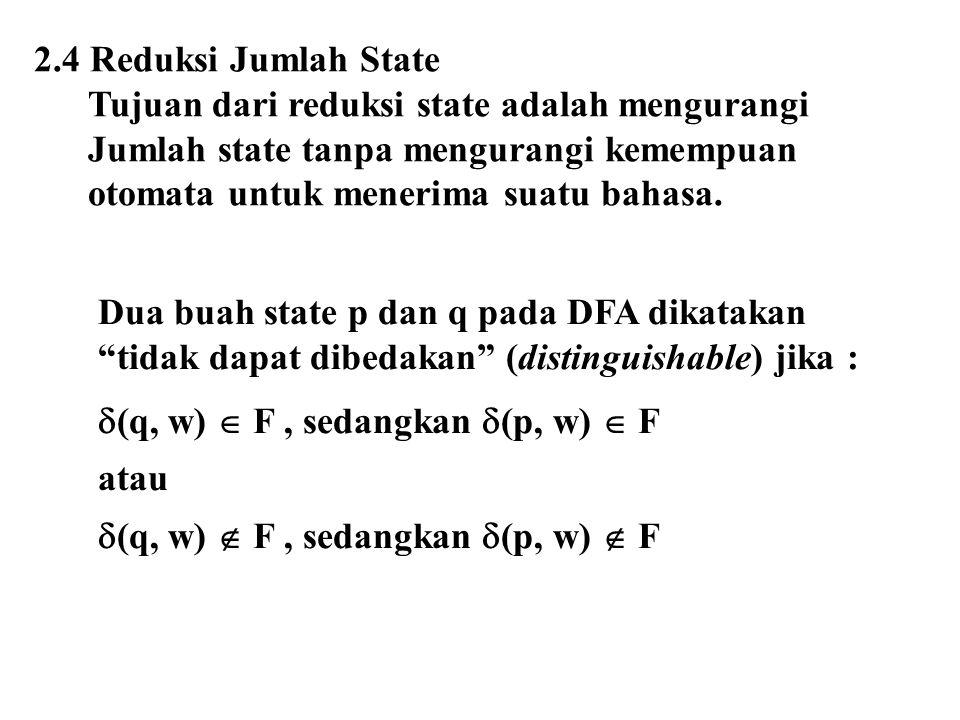 2.4 Reduksi Jumlah State Tujuan dari reduksi state adalah mengurangi. Jumlah state tanpa mengurangi kemempuan.