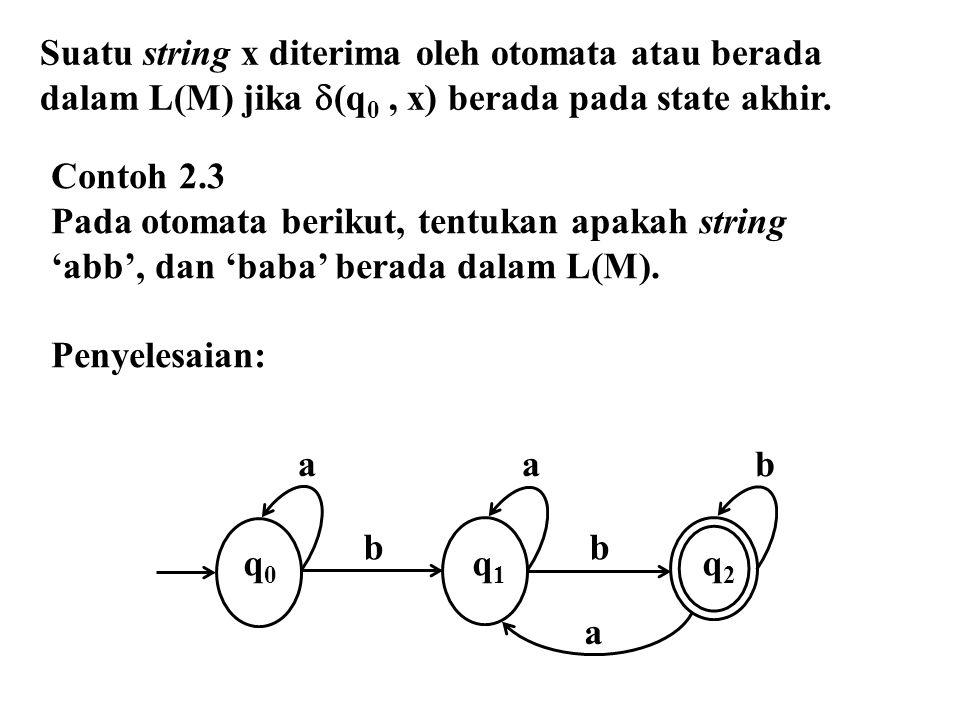 Suatu string x diterima oleh otomata atau berada