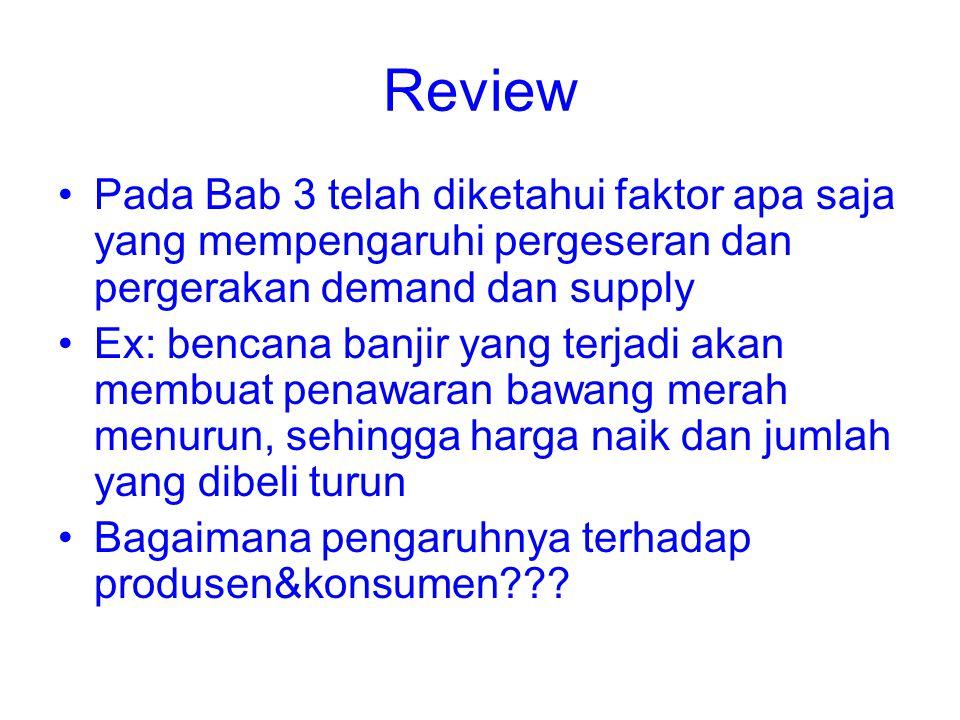 Review Pada Bab 3 telah diketahui faktor apa saja yang mempengaruhi pergeseran dan pergerakan demand dan supply.