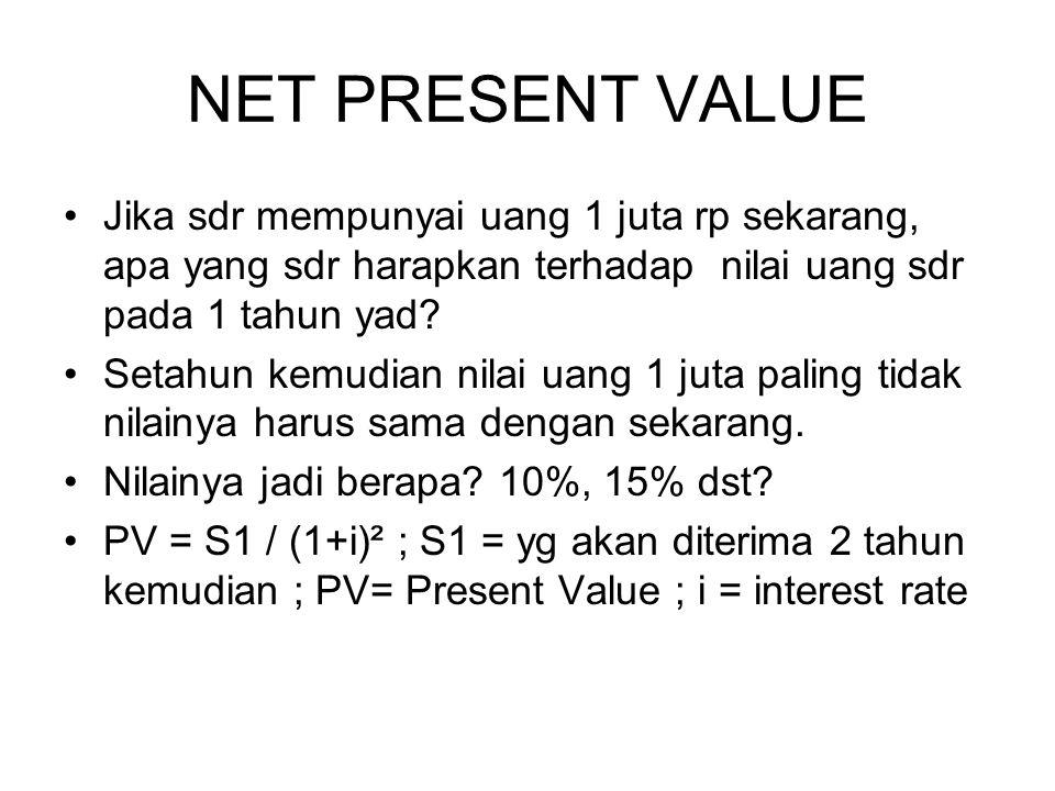 NET PRESENT VALUE Jika sdr mempunyai uang 1 juta rp sekarang, apa yang sdr harapkan terhadap nilai uang sdr pada 1 tahun yad