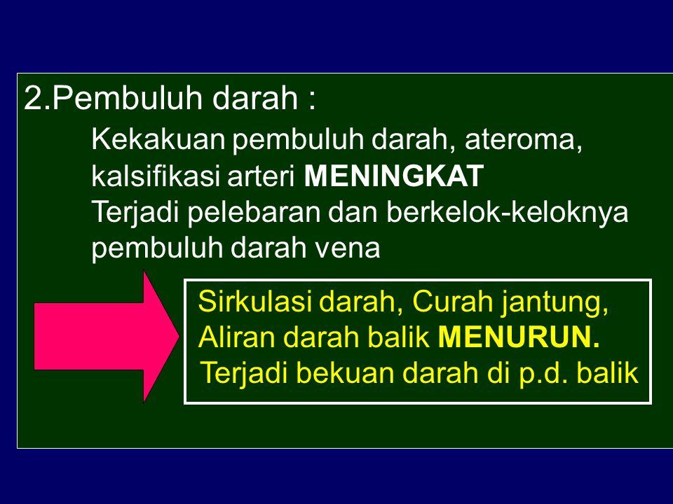 2. Pembuluh darah :. Kekakuan pembuluh darah, ateroma,