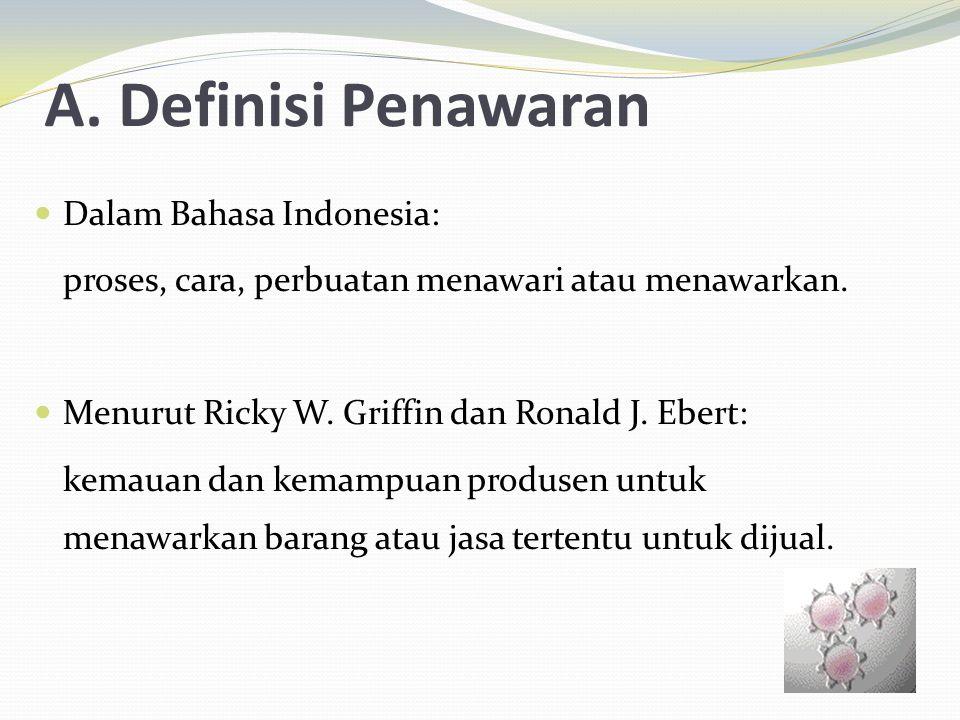 A. Definisi Penawaran Dalam Bahasa Indonesia: