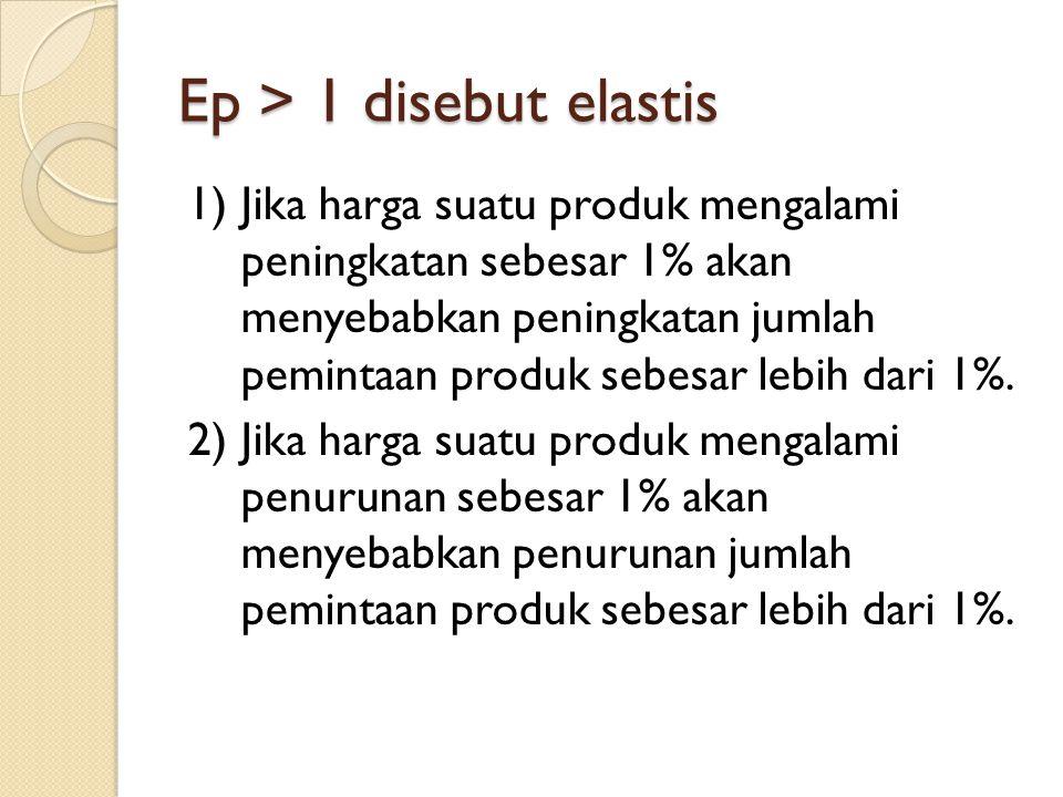 Ep > 1 disebut elastis