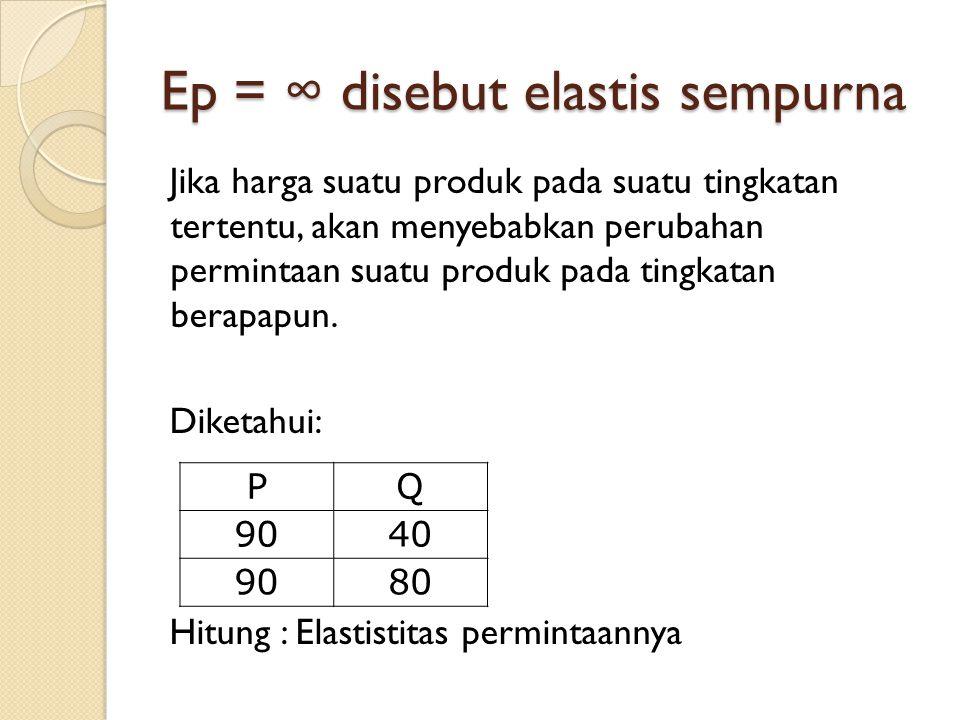 Ep = ∞ disebut elastis sempurna