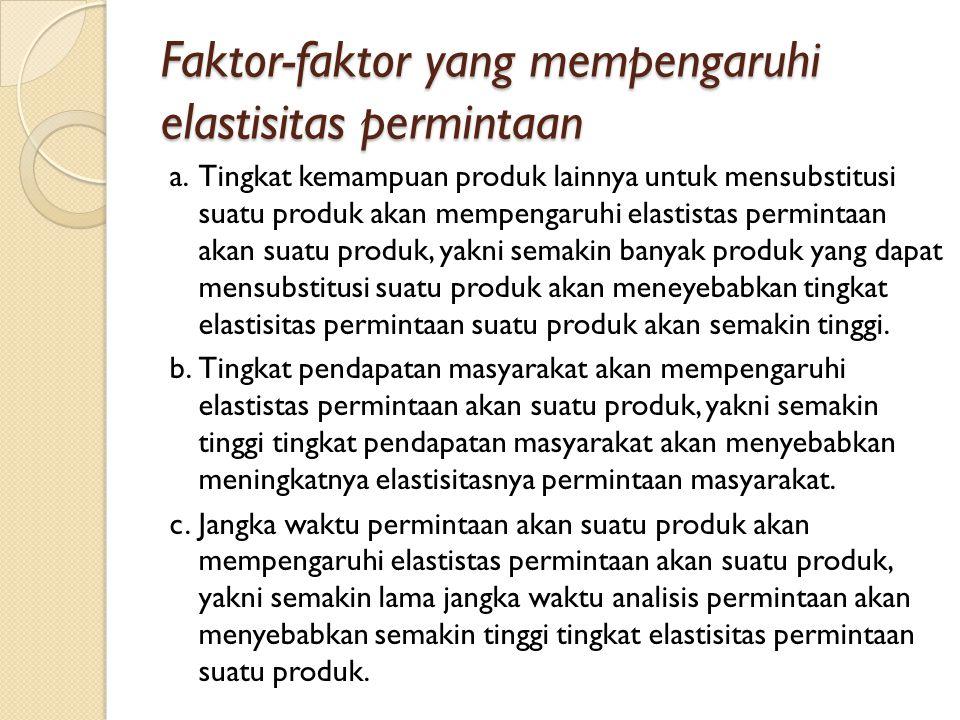 Faktor-faktor yang mempengaruhi elastisitas permintaan