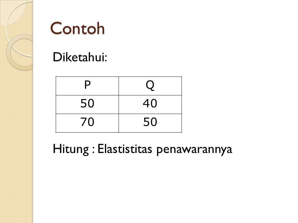 Contoh Diketahui: Hitung : Elastistitas penawarannya P Q 50 40 70