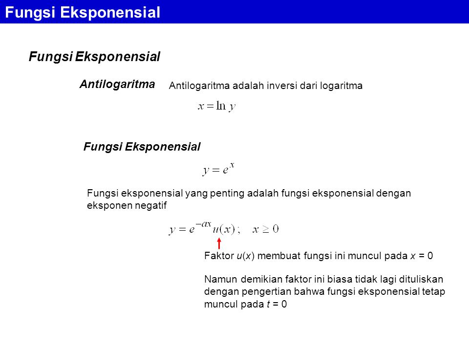 Fungsi Eksponensial Fungsi Eksponensial Antilogaritma