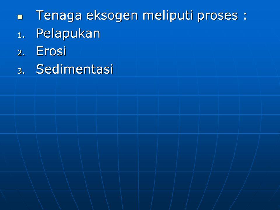 Tenaga eksogen meliputi proses :