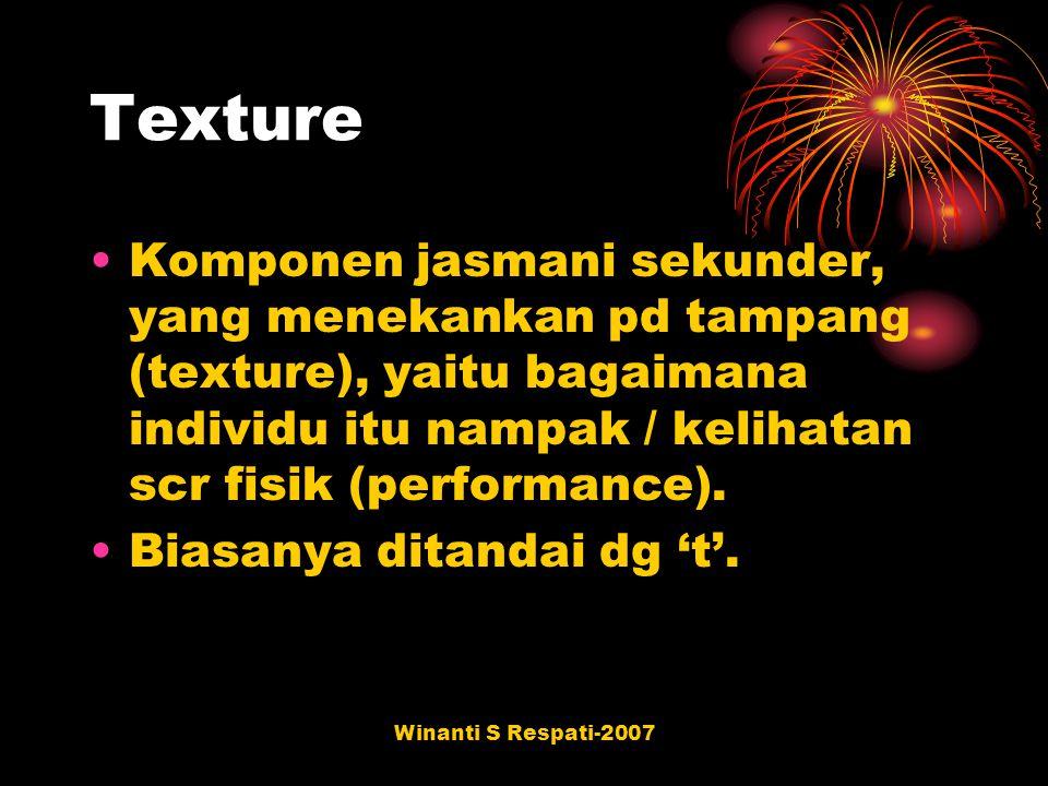 Texture Komponen jasmani sekunder, yang menekankan pd tampang (texture), yaitu bagaimana individu itu nampak / kelihatan scr fisik (performance).