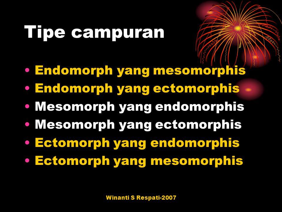 Tipe campuran Endomorph yang mesomorphis Endomorph yang ectomorphis