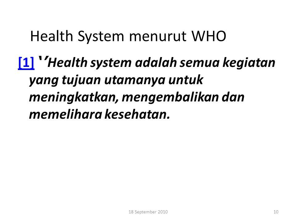 Health System menurut WHO