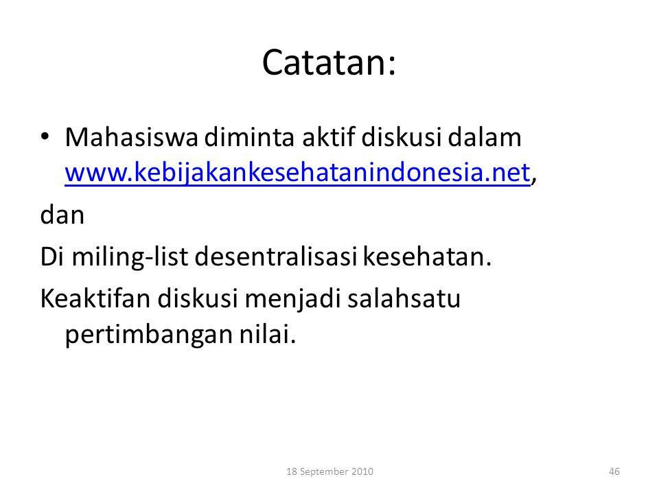 Catatan: Mahasiswa diminta aktif diskusi dalam www.kebijakankesehatanindonesia.net, dan. Di miling-list desentralisasi kesehatan.