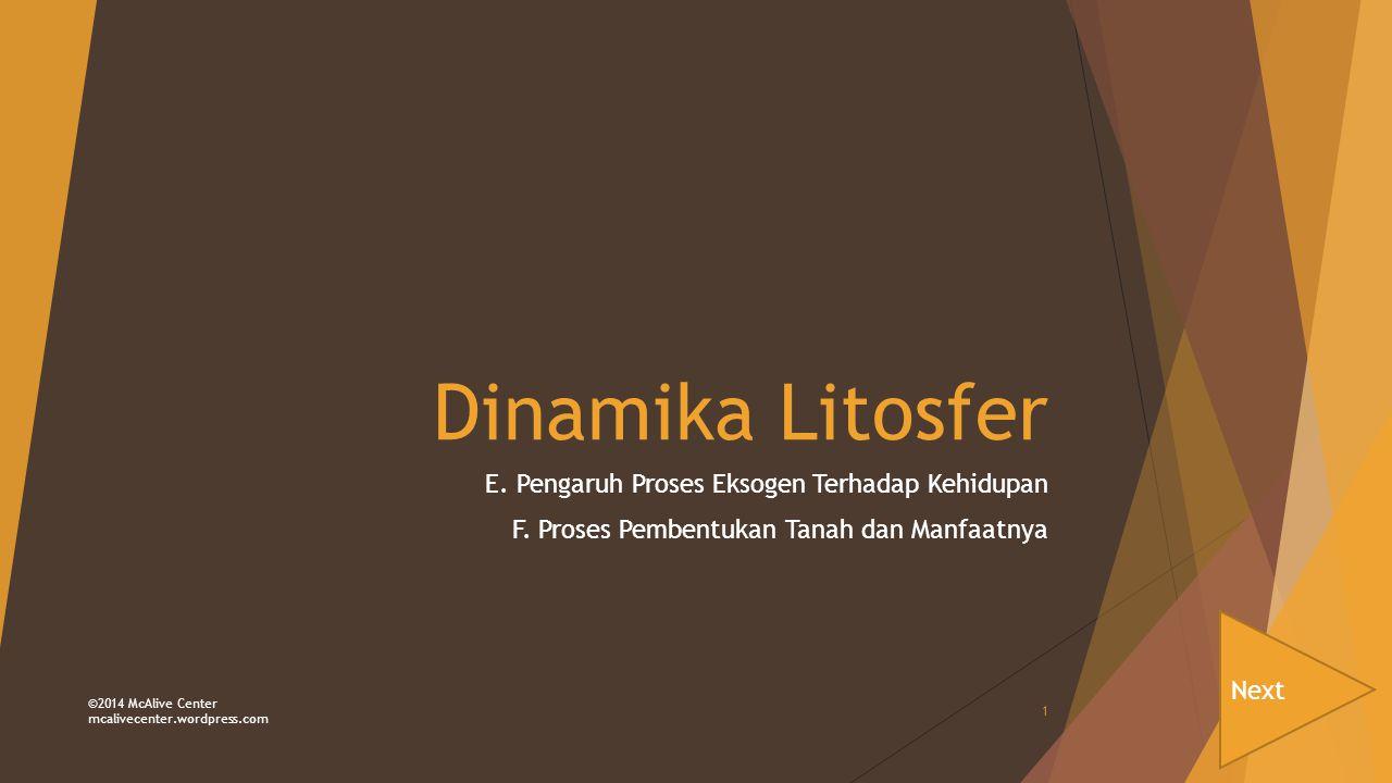 Dinamika Litosfer E. Pengaruh Proses Eksogen Terhadap Kehidupan