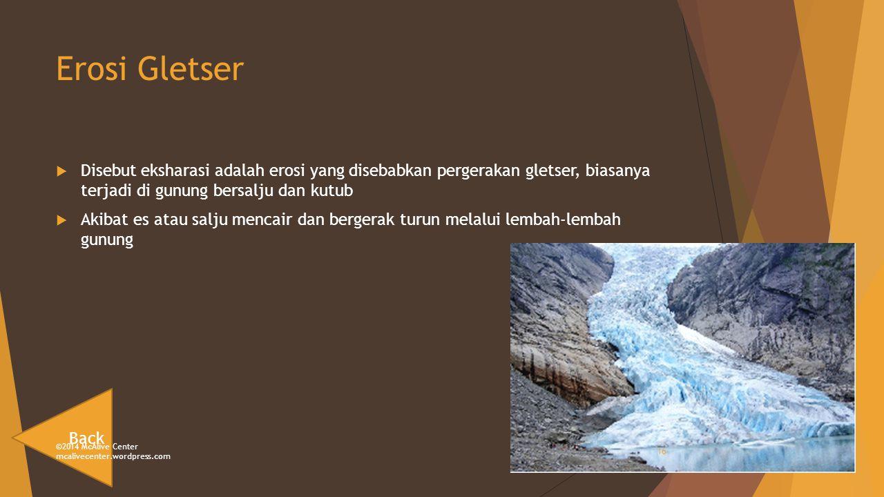 Erosi Gletser Disebut eksharasi adalah erosi yang disebabkan pergerakan gletser, biasanya terjadi di gunung bersalju dan kutub.