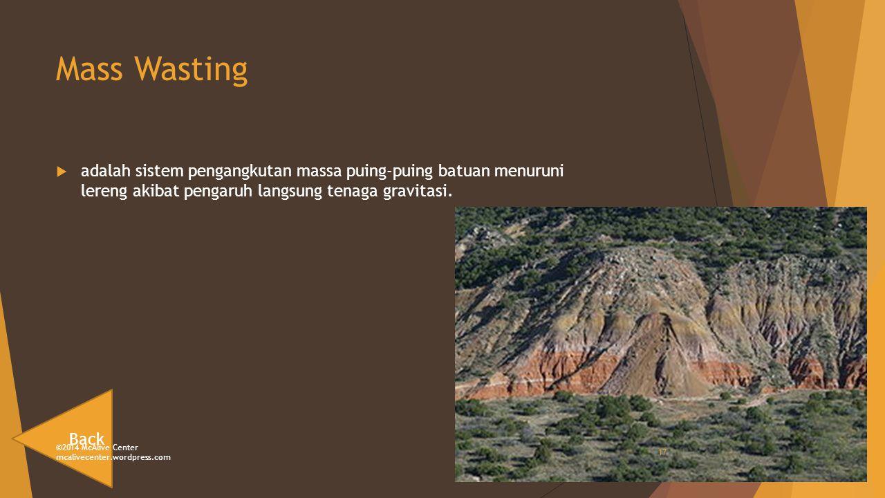 Mass Wasting adalah sistem pengangkutan massa puing-puing batuan menuruni lereng akibat pengaruh langsung tenaga gravitasi.