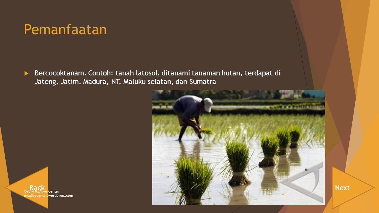 Pemanfaatan Bercocoktanam. Contoh: tanah latosol, ditanami tanaman hutan, terdapat di Jateng, Jatim, Madura, NT, Maluku selatan, dan Sumatra.