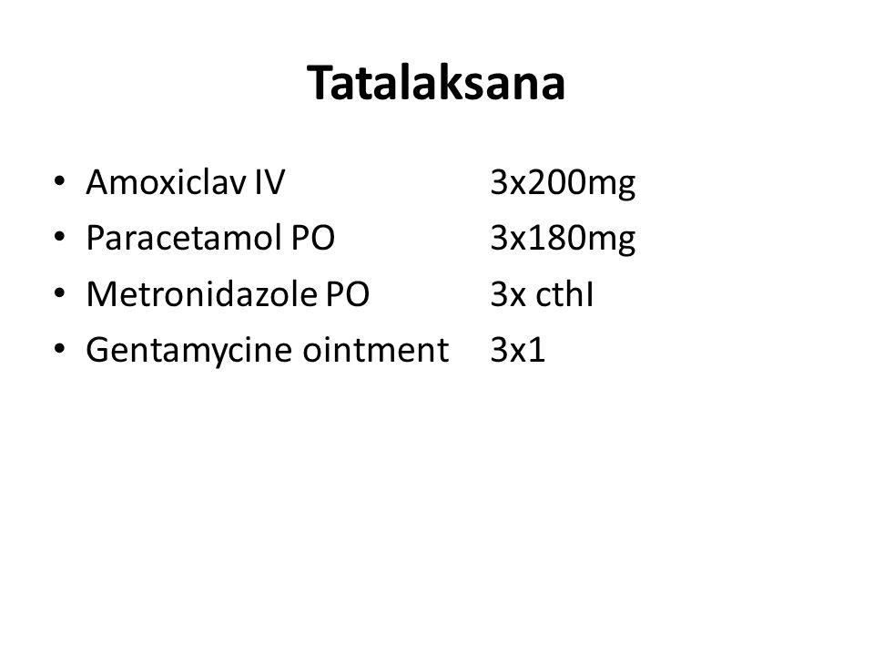 Tatalaksana Amoxiclav IV 3x200mg Paracetamol PO 3x180mg