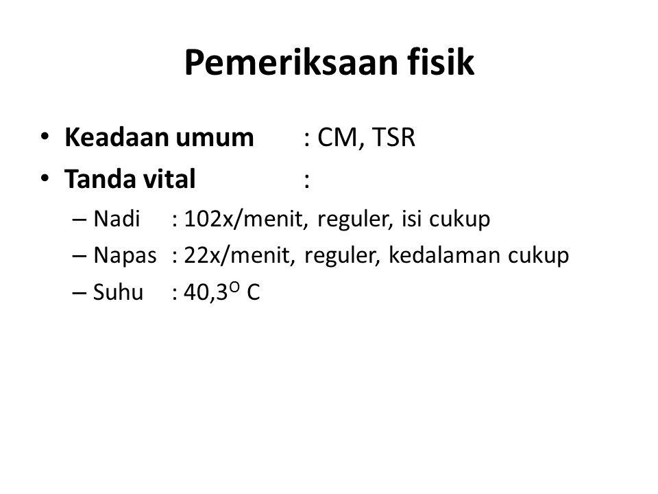Pemeriksaan fisik Keadaan umum : CM, TSR Tanda vital :