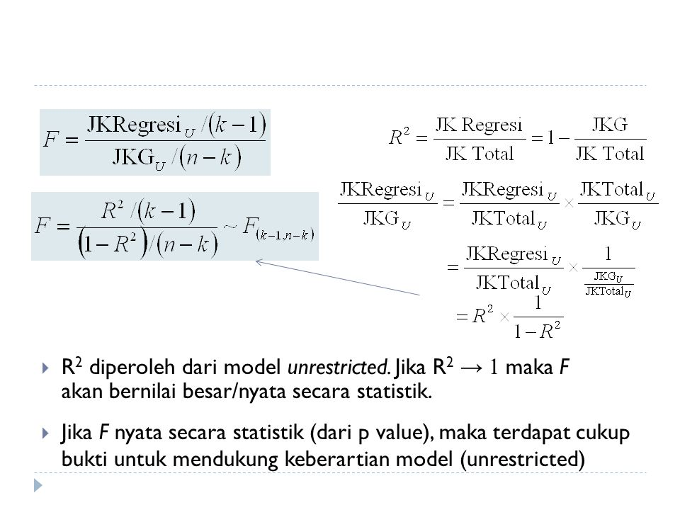 R2 diperoleh dari model unrestricted